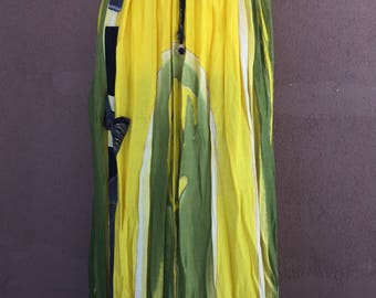 Yellow and Green Cotton Skirt with Bow in Front