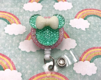 Mickey Minnie Mouse Ears Animal Bling Medical Doctor Disney Badge Reel Retractable ID Holder Name Tag Nurse CNA RN Technician CPhT