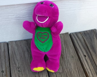 """Barney, Purple Dinosaur, I Love You Satin Heart Embroidered Patch, 10"""" Singing, I Love You, Plush Stuffed Animal Toy"""
