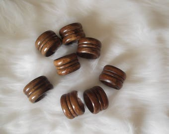 Vintage Brown Wooden Napkin Rings Rustic Farmhouse Table Decor