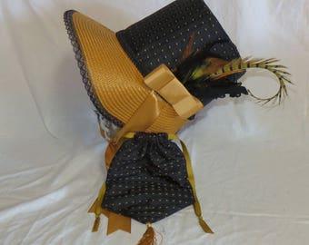 Black and Butterscotch Stovepipe Bonnet and Reticule- Regency, Georgian, Jane Austen Era Bonnet and Purse