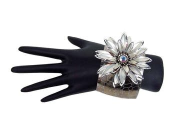 Vintage Silver Multi Petal Large Brooch Rhinestone Center Recycled Upcycled Adjustable Cuff Bracelet Corsage Wedding Prom