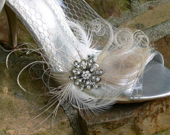 White Peacock Shoe Clip Set, Rhinestone and Silver , Wedding, Garter Clip, Purse Clip, Perfect Gift