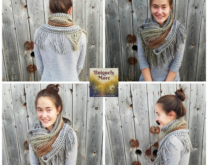 Ready to Ship,Cowl,3 Button Cowl,Button Cowl,Crochet Cowl,Triangle Cowl,Chunky Cowl,Gift For Mom,Gift For Teen Girl,Yarn Cowl,Fringe Cowl