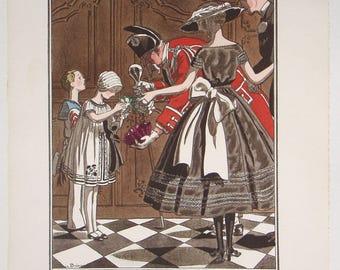 Gazette du BON TON 1920 Fashion Pochoir 'Pour Les Pauvres' dresses by Jeanne Lanvin illustrated by BRISSAUD