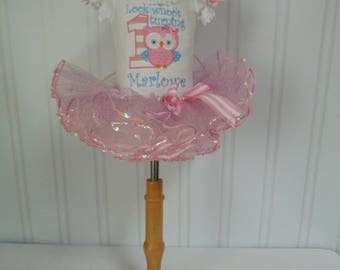 Look Whoo's One Pink Birthday Outfit- Cute Pink Owl Outfit- Personalized Onesie/T-Shirt/Tutu and Headband