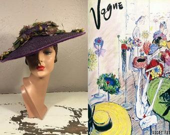 Ascot Fashion - Vintage 1930s Plum Purple Straw Wide Brim Hat Portrait Hat w/Massive Floral Arrangement