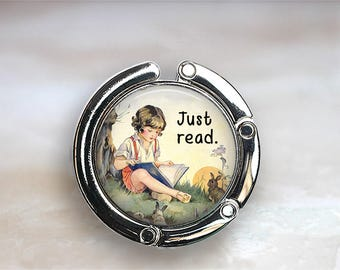 Just Read purse hook, purse hanger gift for English teacher quote bag hanger book lover gift reader's gift book club gift