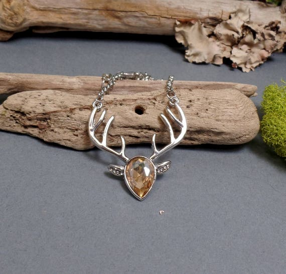 Cubic Zirconia Deer Necklace - Silver Deer Necklace - Antler Necklace - Champagne Zirconia Deer - Reindeer Necklace - Free US Shipping