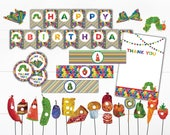 Very Hungry Caterpillar Party Collection - INSTANT DOWNLOAD / Birthday Party / Thank You Tag / Banner / Straw Flags / Water Bottle Wrapper