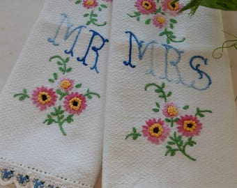 Vintage Pair Embroidered Guest Towels, Mr and Mrs Husband Wife Wedding Gift