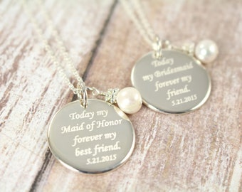 Maid of Honor Gift Personalized Necklace, Engraved Wedding Jewelry, 925 Sterling Silver
