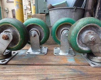 4 Vintage Industrial casters Large Green wheels bracket mount Furniture - Cart - Swivel head salvage