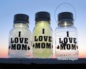I Love Mom Solar Jar Light Outdoor Eco Friendly Garden Gift for Mom, Yellow White Mother's Day Gift, 1 Mason Jar Solar Light, Choose One