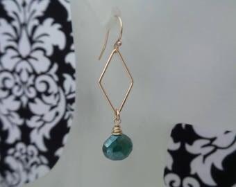 Mystic Green Onyx Earrings, Geometric Earrings, 14K Gold Filled Earrings, Green Onyx Jewelry, Onyx Earrings, Gift Women, Gifts Under 30