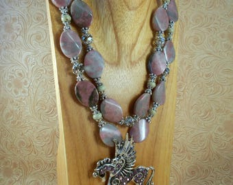 Chunky Western Necklace Set - Pink Rhodonite - Winged Crystal Horse - Cowgirl