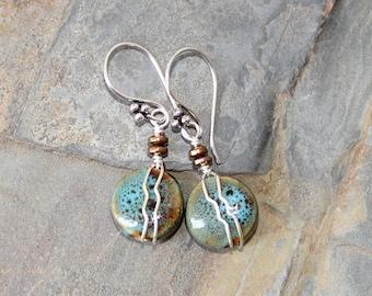 Blue Green Earrings, Wire Wrapped Earrings, Ceramic Earrings, Rustic Earrings, Handmade Earrings, Beaded Earrings, Bohemian Earrings