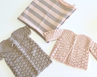 Baby Girls Knitted Dress with Cardigan Sweater and Blanket in Pink and Brown Wool