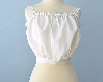 Vintage Edwardian Camisole...White Cotton Camisole Corset Cover