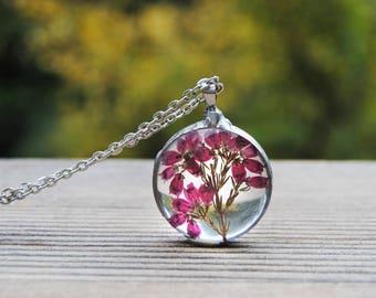 Woodland necklace, Heather necklace, pressed flower necklace, terrarium necklace, botanical jewelry, terrarium pendant,