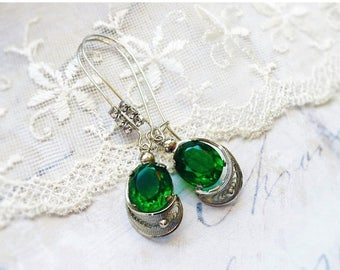 MOVING SALE Emerald Isles, Vintage Upcycled Emerald Green Oval Jewels Set Filigree Silver,French Rhinestone Wire Earrings by Hollywood Hillb