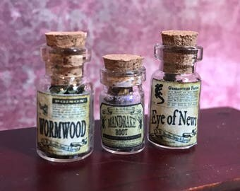 3 Witch's herbs and poisons, wormwood, mandrake, eye of newt, dollhouse size, in glass jars 1:12 1/12 1""