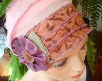 Womens Chemo Hat Chemo Headwear soft Flapper pink taupe  Chemotherapy Alopecia Beanie with Flower