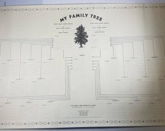 Vintage My Family Tree Genealogy Chart 1960's