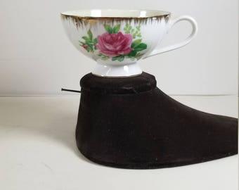 Vintage Wales Porcelain Demitasse Cup Tea Cup Gold Trim Pink Rose Pearlescent Made in Japan