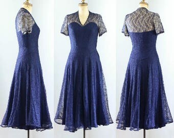 Vintage 1940's Navy Blue Silk Lace Party Dress