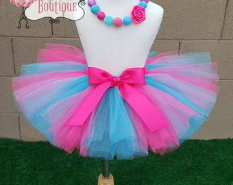 COTTON CANDY- pink and shimmer blue baby/child tutu with hairpiece:  Newborn-5T