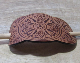 Brown Leather Hair Clip