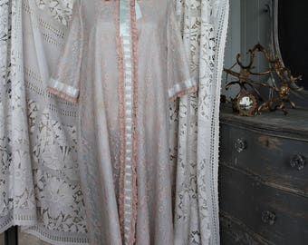 Vintage 1950s Dressing Gown by Odette Barsa  Soft Blue with Beige Lace Lingerie
