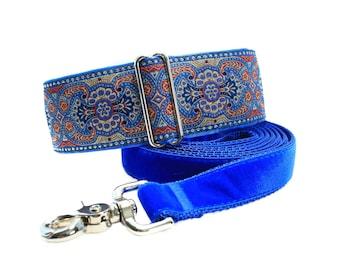 Blue Martingale Collar and Matching Leash, 2 Inch Martingale Collar, Jacquard Martingale Collar, Large Dog Collar, Greyhound Collar