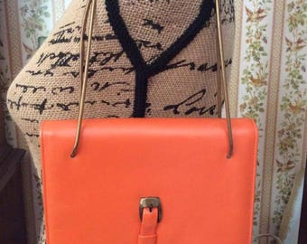 Vintage 1960s 1970s Purse Shoulder Hand Bag Orange Leather OR Vinyl Gold Tone Color Chain Handles 3 Compartments Hippie Festival