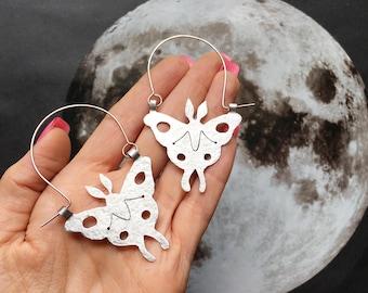 Luna Moth hoop earrings, moth earrings, insect jewelry