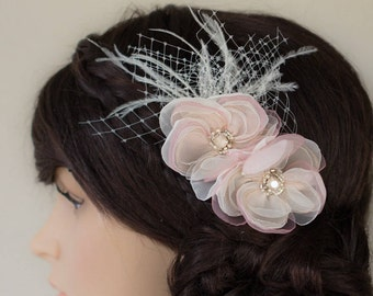 Blush pink Bridal hair comb Wedding hair comb Floral hair comb Blush pink comb Wedding headpiece Bridal headpiece Blush pink headpiece