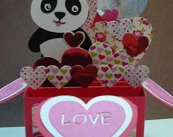 Valentine 3D Pop Up Box Card Panda Super Cute!