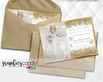Christening / Baptism Invitation - Birth Announcement - Photo Invite - Printable - DIY - Digital File - Shower - PERSONALISED for you