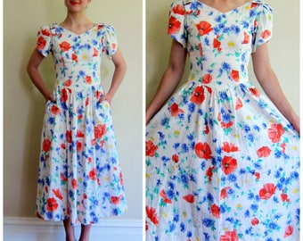 Vintage 1980s Lanz Dress in Bright Floral Print / 80s Summer Dress with Bows and Flowers/ small