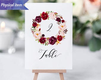 Printed Burgundy Floral Wreath Table Number Cards, Physical item, Fast shipping, 4x6'' 5x7'', Rustic Wedding Reception Table Number Sign