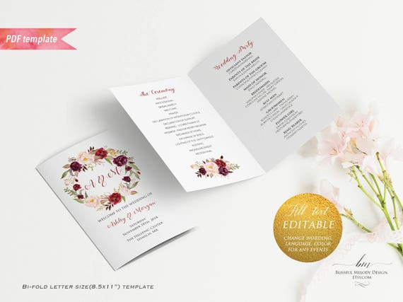 printable burgundy floral wedding program booklet editable bi fold us letter size pink ceremony. Black Bedroom Furniture Sets. Home Design Ideas