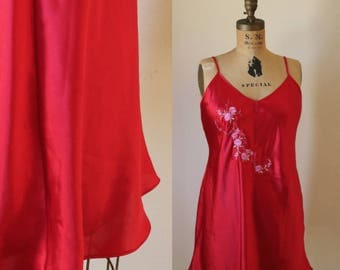 Embroidered Slip Dress | M/L 90s vintage cherry red satin spaghetti strap lingerie mini flirty pink embroidered eastern blossom medium large