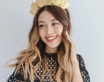 Gold leather leaf crown Fascinator // Metallic gold leaf crown headband / leather fascinator / leather races fascinator headpiece