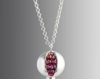 Pomegranate Necklace - Pomegranate Pendant - READY TO SHIP - Pomegranate Jewelry - Silver Pomegranate - Tiny Pomegranate Silver Necklace