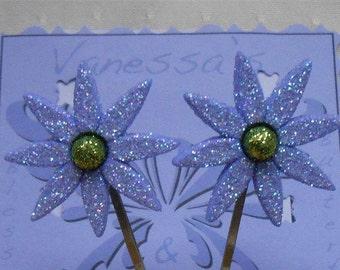 Blue Flower Hair Pin, Blue Hair Flowers Bobby Pins, Flower Hair Pin Set, Floral Bobby Pins, Daisy Hair Pins, Hair Accessories Blue Flowers