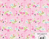 Floral Flamingo Fabric By The Yard - Flamingo Fabric - Pink Flamingo and Floral Summer Print in Yards & Fat Quarter