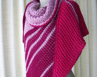 DREAM PINK: Hand Knit Color Block Stripes Shawl Triangle Scarf in Mohair Wool / Art Knit Shawl