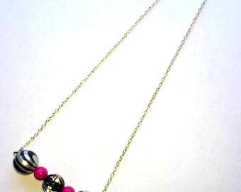 Pink Zebra Bar Necklace