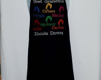 Granny Apron, Best Hands Down, Custom Personalize With Six Grandkids Names, Grandparent Gift, Mimi, Grammie, No Shipping Fee, AGFT 1241